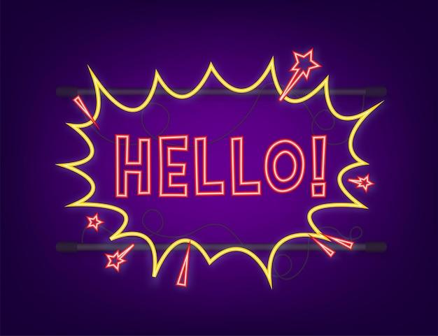 Fumetti comici con testo hello. icona al neon. illustrazione del fumetto dell'annata. illustrazione di riserva di vettore.