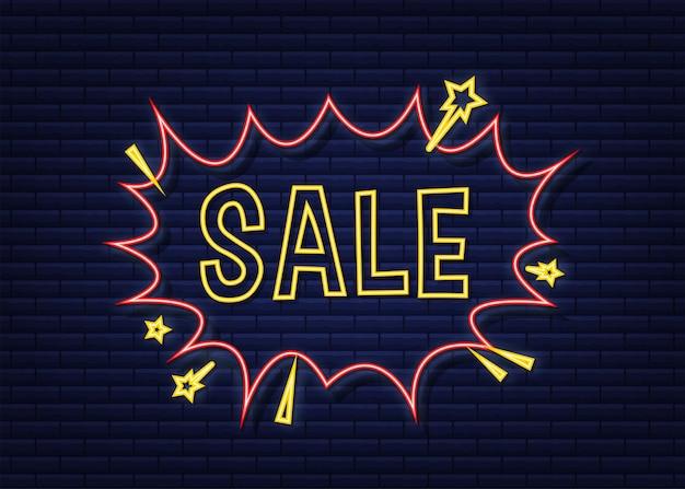 Fumetti comici con vendita di testo. icona al neon. simbolo, etichetta adesiva, etichetta offerta speciale, badge pubblicitario. illustrazione di riserva di vettore.