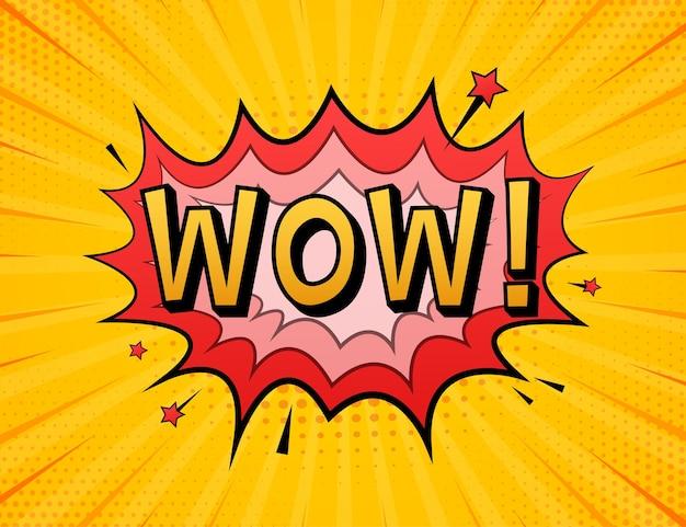 Fumetti comici con testo wow. illustrazione del fumetto dell'annata. simbolo, etichetta adesiva, etichetta offerta speciale, badge pubblicitario. illustrazione di riserva di vettore
