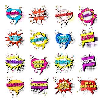 Comic speech chat bubble set stile pop art sound expression raccolta di icone di testo
