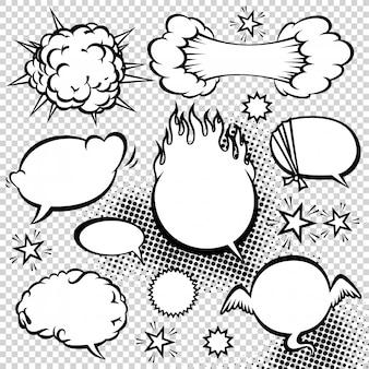 Raccolta di bolle di discorso di stile comico. illustrazione di elementi di disegno vettoriale divertente.
