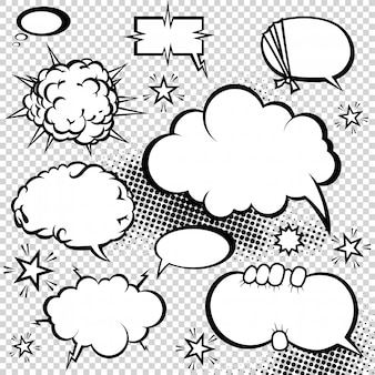 Raccolta di bolle di discorso di stile comico