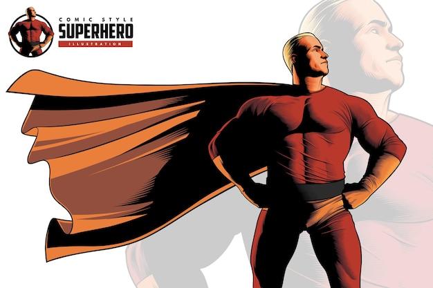 Primo piano del supereroe di stile comico