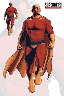 Volo del supereroe di stile comico