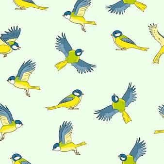 Modello senza cuciture variopinto degli uccelli della molla del cinciallegra di stile comico