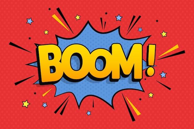 Testo comico boom in stile pop art Vettore Premium