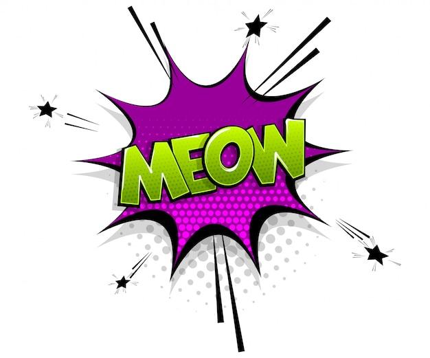 Testo comico meow su stile pop art fumetto fumetto