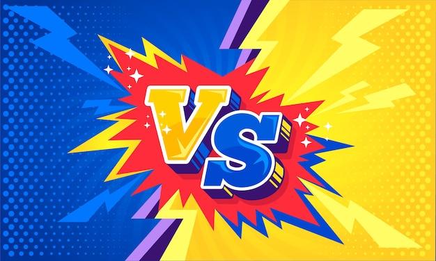 Fumetto contro sfondo di cartone animato di combattimento contro blu e giallo