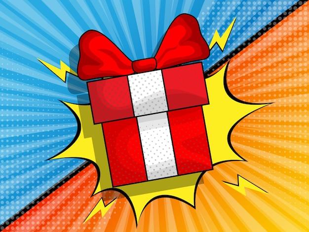 Sfondo di zoom comico con illustrazione giftbox Vettore Premium