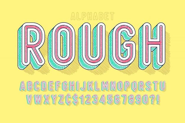 Carattere lineare comico, alfabeto colorato, carattere tipografico