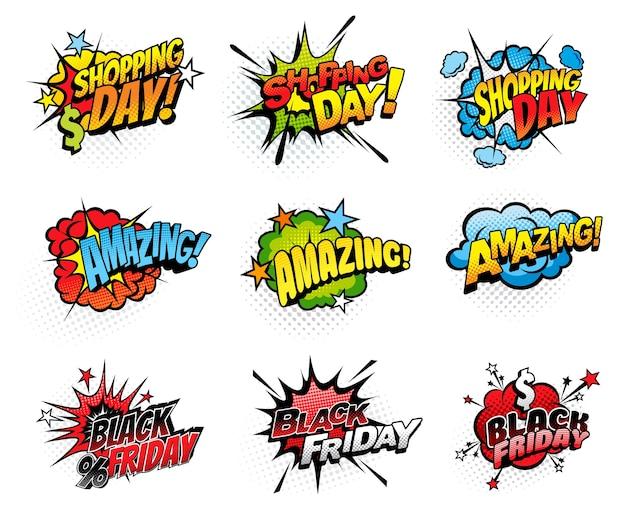 Bolle di fumetti per la giornata di shopping e il venerdì nero