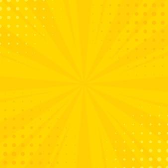 Sfondo di raggi di fumetti con mezzitoni. sfondo giallo estivo vettoriale per le tue illustrazioni