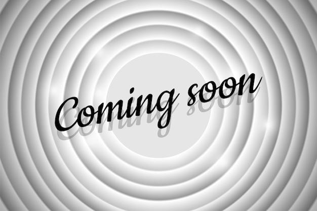 Prossimamente testo dell'annuncio sul titolo nero dello schermo del cinema retrò del cerchio bianco sul vecchio film muto