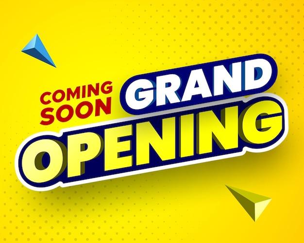 Prossimamente banner di inaugurazione su sfondo giallo illustrazione vettoriale Vettore Premium