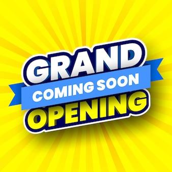 Prossimamente banner di inaugurazione a strisce gialle