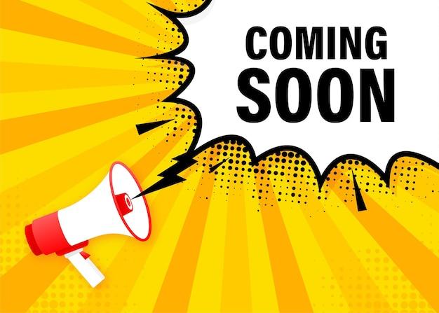 Prossimamente banner giallo megafono in stile 3d. illustrazione.