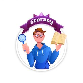 Commemora la giornata internazionale dell'alfabetizzazione, con un uomo in piedi che legge un libro