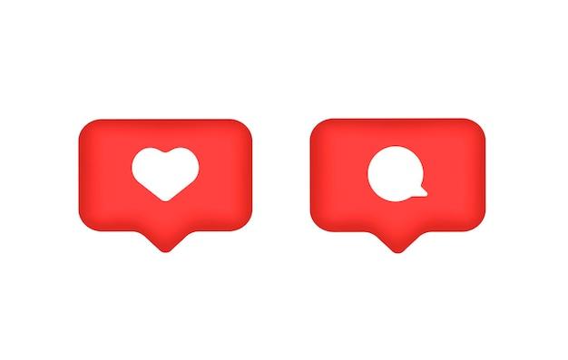 Icona commento e cuore icona mi piace vettoriale e commenti notifica pulsante per sito web e dispositivi mobili