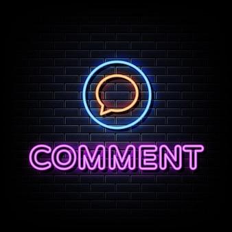 Commenta il testo in stile insegne al neon