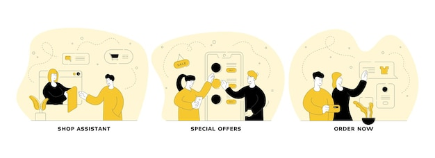 Commercio e commercio in set di illustrazione lineare piatta di internet. assistente di negozio, offerte speciali, ordina ora. applicazione mobile per lo shopping online di facile utilizzo. personaggi dei cartoni animati di persone