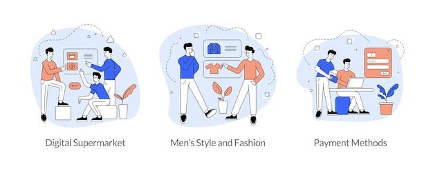 Commercio e commercio in set di illustrazione vettoriale lineare piatto internet. supermercato digitale, stile e moda uomo, modalità di pagamento. personaggi dei cartoni animati di uomini