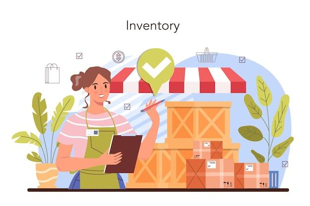 Attività commerciali. imprenditore inventario merci su vetrine. sicurezza del magazzino. processo di vendita al dettaglio, servizio di protezione del negozio. illustrazione vettoriale piatta