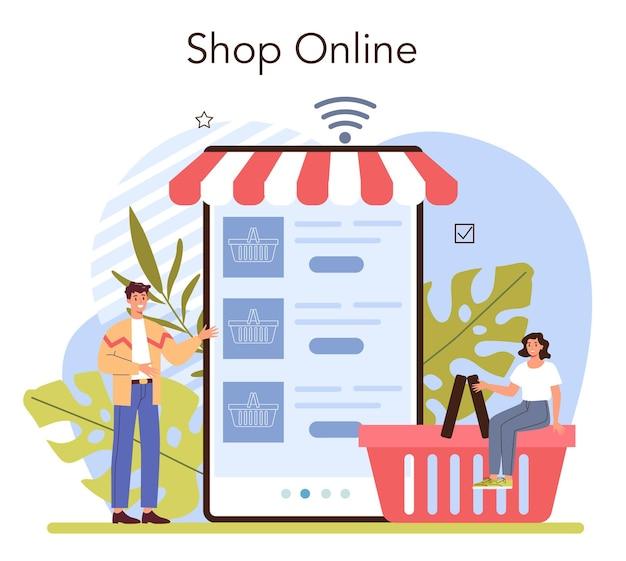 Servizio o piattaforma online di attività commerciali. imprenditore che apre o chiude un negozio. negozio online. illustrazione vettoriale piatta