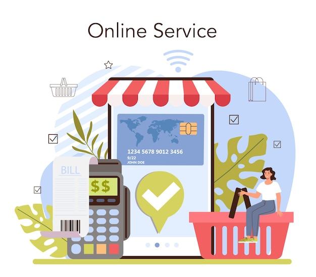 Le attività commerciali elaborano un servizio o una piattaforma online. sistema di pagamento moderno. pagamento in contanti e contactless con carta. illustrazione vettoriale piatta
