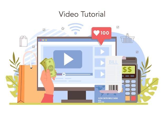 Le attività commerciali elaborano un servizio o una piattaforma online. sistema di pagamento moderno. pagamento in contanti e contactless con carta. videotutorial. illustrazione vettoriale piatta