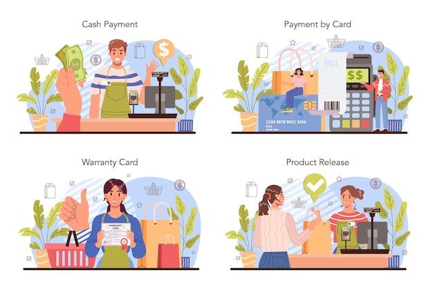 Set di processi di attività commerciali. sistema di pagamento moderno. pagamento in contanti