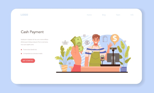 Le attività commerciali elaborano il pagamento moderno di banner web o landing page