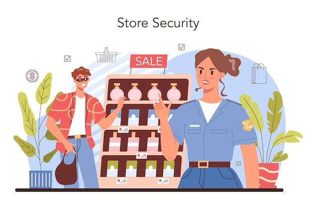 Attività commerciali. sicurezza del magazzino, servizio di protezione del negozio. imprenditore inventario merci su vetrine. idea di processo di vendita al dettaglio. illustrazione vettoriale piatta