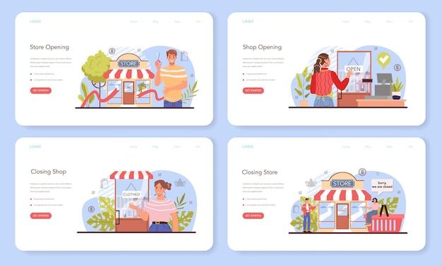 Banner web di attività commerciali o set di pagine di destinazione. apertura imprenditoriale
