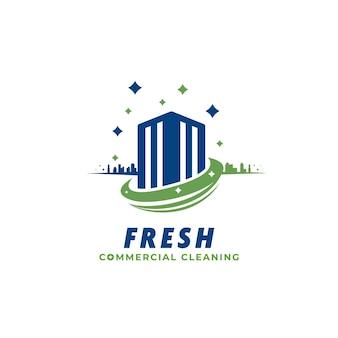 Servizio di pulizia di edifici commerciali e uffici e modello di icona del logo dell'azienda del bidello