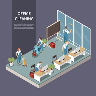Squadra di servizio di pulizia dell'ufficio commerciale al lavoro che aspira la composizione isometrica dei banchi di lavaggio dei tappeti per spolverare le scrivanie