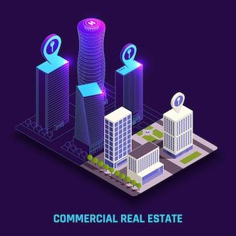 Illustrazione isometrica di immobili commerciali