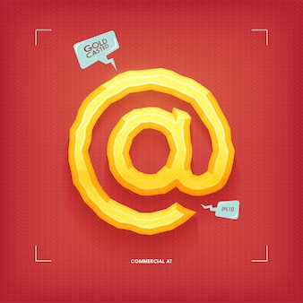 Commerciale al simbolo. elemento di carattere tipografico gioiello d'oro. fuso in oro. illustrazione.