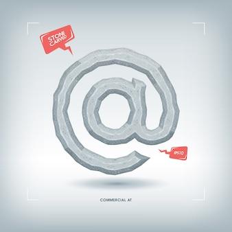 Commerciale al simbolo. elemento di carattere tipografico scolpito in pietra. illustrazione.