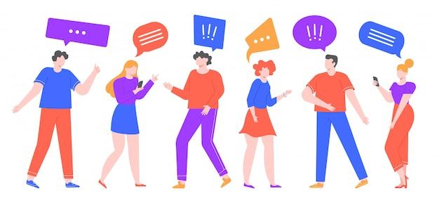 Comunicare le persone. il gruppo di bolla parlante dei caratteri femminili e maschii comunica, chiacchiera facendo uso degli smartphones, la conversazione della gente e l'illustrazione di conversazione di telefonata. personaggi di uomini e donne