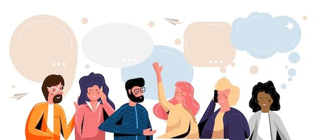 Comunicare il gruppo di persone e il fumetto dei social media. smartphone chiama parlando o parlando di persone e chat di dialogo per la comunicazione, la conversazione e l'interazione virtuale illustrazione vettoriale
