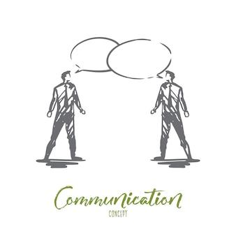 Comunicazione, affari, discorso, chat, concetto di conversazione. due uomini d'affari disegnati a mano che parlano schizzo di concetto.
