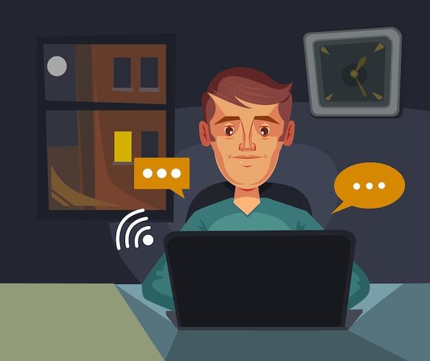 Chat di comunicazione carattere dell'uomo invia massaggi, illustrazione di cartone animato piatto