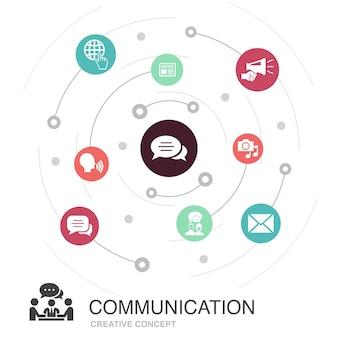 Comunicazione cerchio colorato concetto con icone semplici. contiene elementi come internet, messaggio, discussione, annuncio