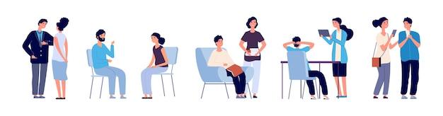 Concetto di comunicazione. persone di conferenza. personaggi piatti, discutendo di persone con telefono, libri, tablet. persone di comunicazione, illustrazione della comunità di discussione in ufficio