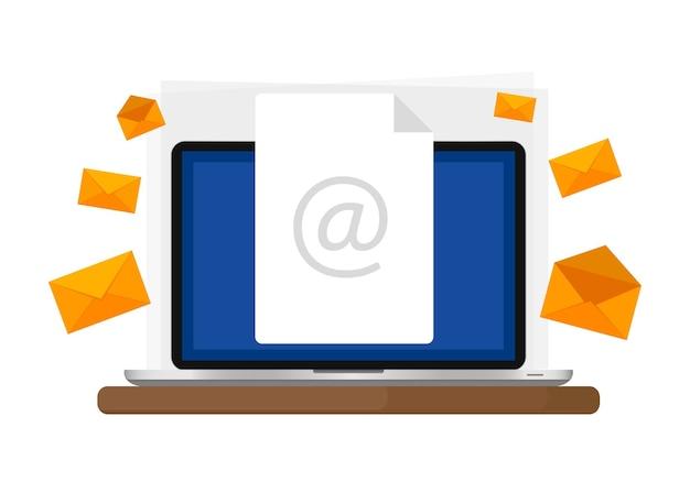 Concetto di comunicazione ed e-mail marketing. invio e ricezione di e-mail.
