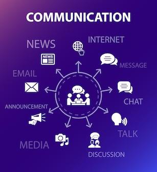 Modello di concetto di comunicazione. stile di design moderno. contiene icone come internet, messaggio, discussione, annuncio
