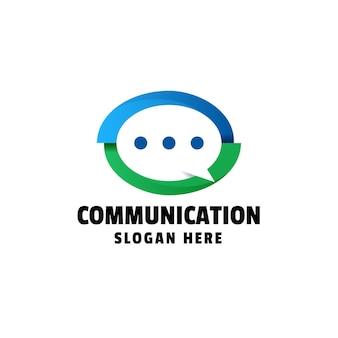 Modello di logo gradiente di comunicazione communication