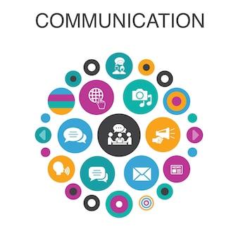 Comunicazione infografica concetto di cerchio. elementi dell'interfaccia utente intelligenti internet, messaggi, discussioni, annunci