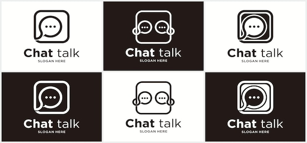 Logo di comunicazione chat comunicazione illustrazione vettoriale chat logo design app