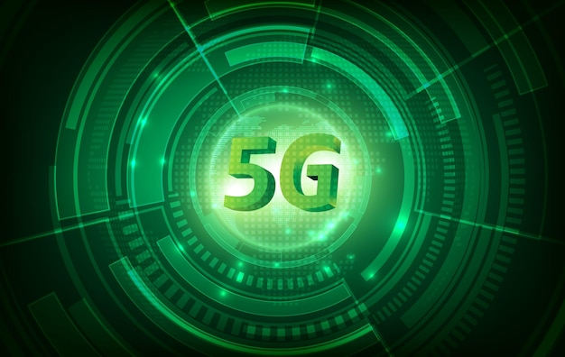 Concetto di rete di comunicazione di 5g e sfondo di tecnologia verde. internet e connessione ad alta velocità.
